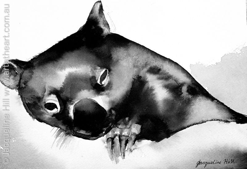 "DA109 ""Milk Coma"" Original Acrylic Ink Painting apx 10x7"" by Jacqueline Hill"