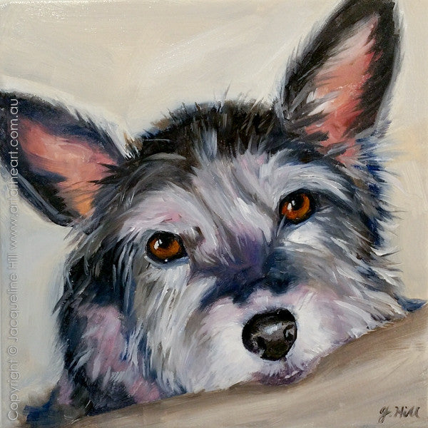 """Titch"" Original Oil on Canvas 12"" Painting by Jacqueline Hill [OR254]"