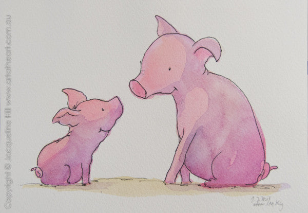 """Piglet & Papa II"" Original Watercolour & Ink Painting by Jacqueline Hill [OR268]"