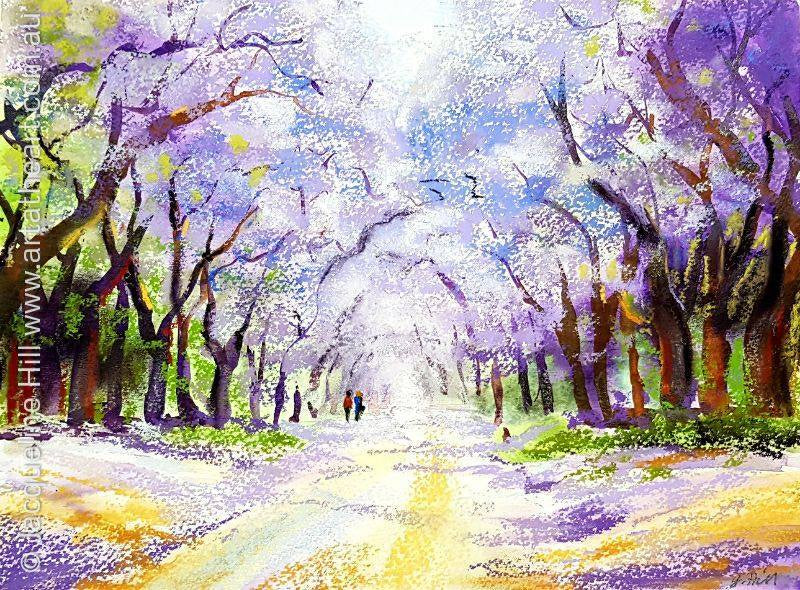 "DA121 ""Jacaranda Stroll"" Original Mixed Media Painting by Jacqueline Hill"