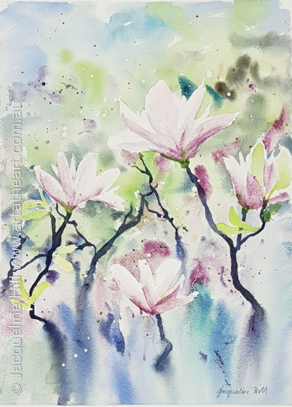 "DA137 ""Magnolia Buds"" Original Watercolour Painting by Jacqueline Hill"