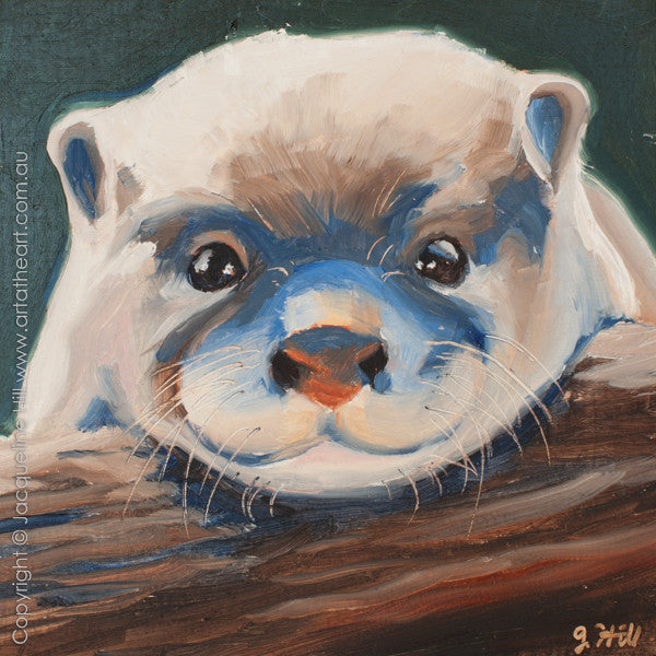 "DPE003 ""Baby Otter IIo"" Original Oil on Panel Painting by Jacqueline Hill"