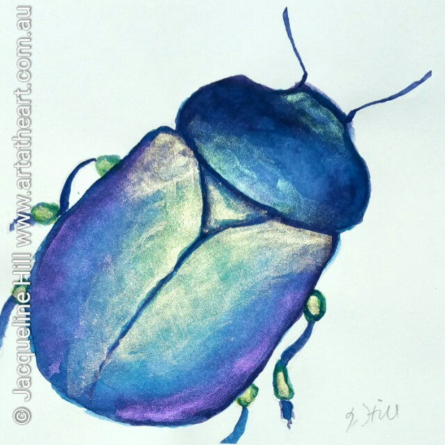 "DA023 ""Scarab"" Original Watercolour Painting apx 6x6"" / 15cm sq by Jacqueline Hill"