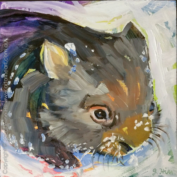 "DP329 ""Snow Wombat"" Original Oil on Panel Painting by Jacqueline Hill"