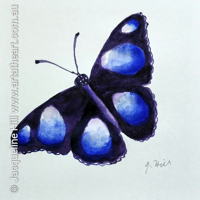 "DA015 ""Happy Memories (Common Egg-fly Butterfly)"" Original Watercolour Painting by Jacqueline Hill"