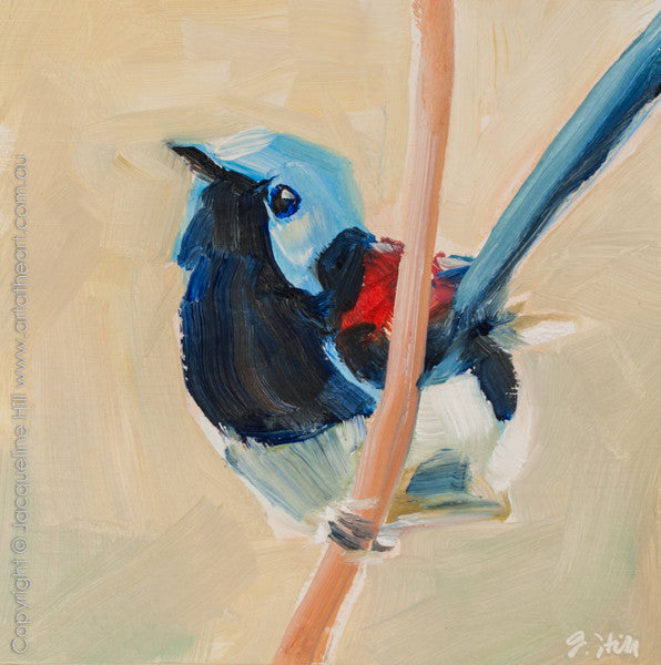 "DP254 ""Lovely Fairy Wren II"" Original Oil on Panel Painting by Jacqueline Hill"