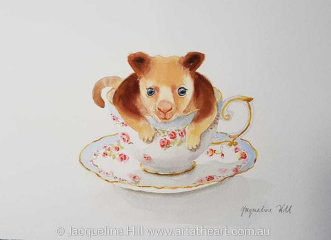 "DA175""Tea With FriendsXIV""(Terrence the TreeKangaroo)Original Framed Watercolour by Jacqueline Hill"