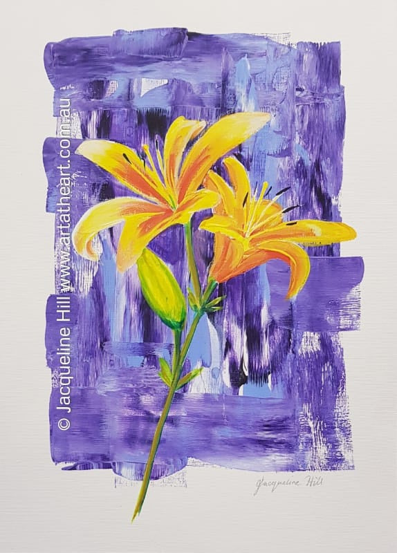 "DA228 ""Yellow Lilies"" Original Acrylic Painting apx 30x43cm by Jacqueline Hill"