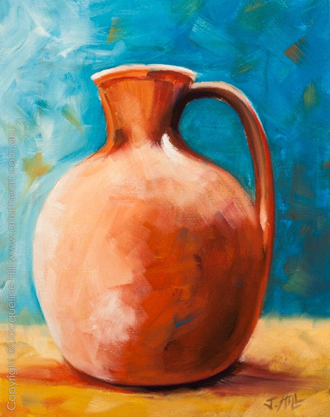 """Vase with Handle"" Original Oil Painting by Jacqueline Hill [OR221]"