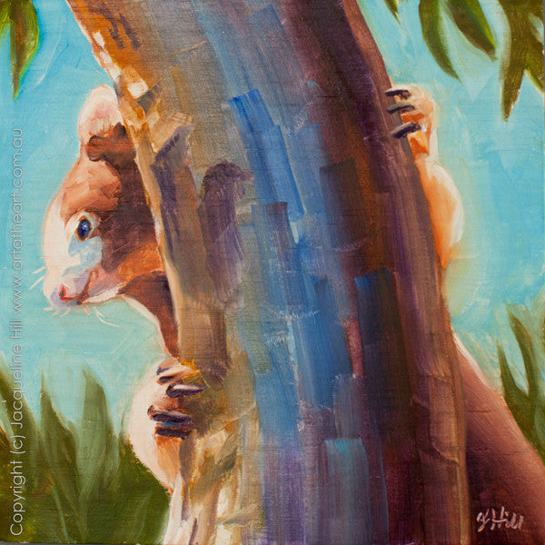 "DP094 ""Tree Kangaroo"" Original Oil on Canvas Panel Painting by Jacqueline Hill"
