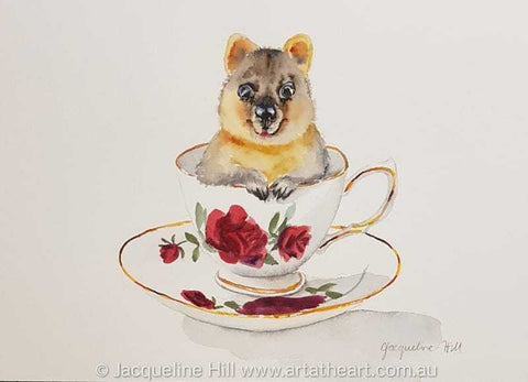 "DA181 ""Tea With Friends XX"" (Barry Quokka) Original Watercolour Painting by Jacqueline Hill"