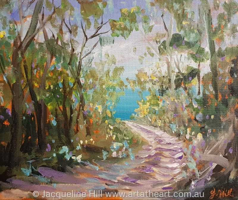 "DA198 ""Walk to the Ocean"" (North Fraser) Original Acrylic Painting by Jacqueline Hill"