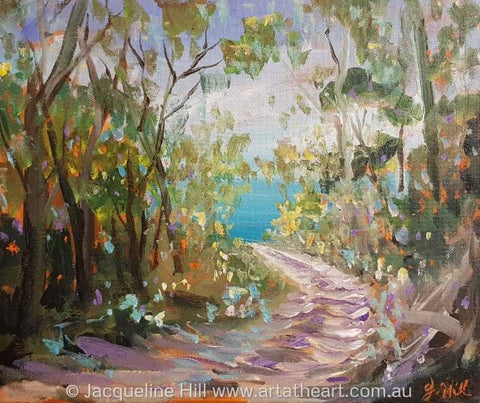 "DA198 ""Walk to the Ocean"" (North Fraser) Original Acrylic Painting apx 12x10"" / 30x24cm by Jacqueline Hill"