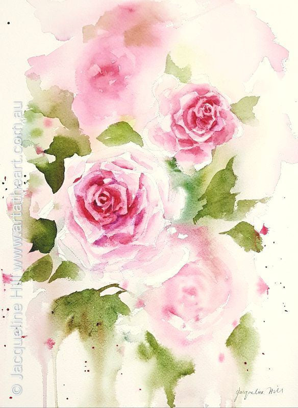 "DA140 ""Pink Roses"" Original Watercolour Painting apx 26x36cm by Jacqueline Hill"
