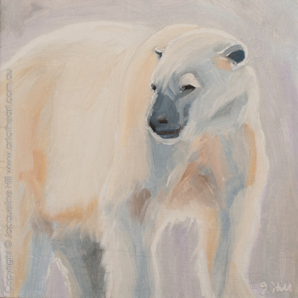 "DP288 ""Polar Bear"" Original Oil on Panel Painting by Jacqueline Hill"