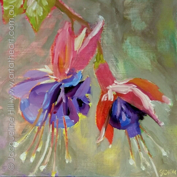 "DP337 ""Dancing Girls"" (Fuschias) Original Oil on Panel Painting by Jacqueline Hill"