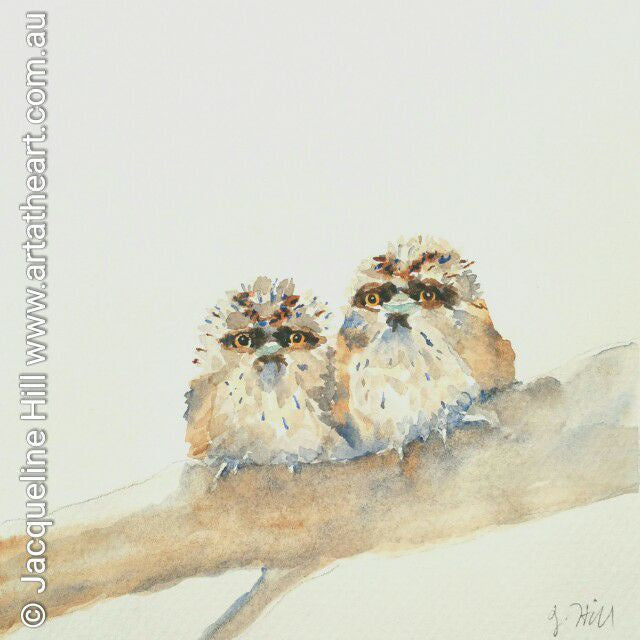 "DA049 ""Tawny Babies"" Original Watercolour Painting apx 6x6"" / 15cm sq by Jacqueline Hill"