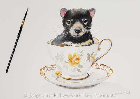 "DA177""Tea With Friends XVI""(Buster the Tassie Devil) Original Framed Watercolour by Jacqueline Hill"