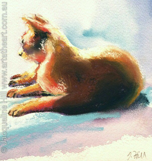 "DA056 ""Peaceful Lookout"" Original Watercolour & Pastel Painting apx 6x6"" / 15cm sq by Jacqueline Hill"