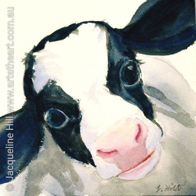 "DA068 ""Little Calf"" Original Watercolour Painting by Jacqueline Hill"