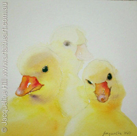 "DA076 ""Tiny Ducklings"" Original Watercolour Painting apx 6x6"" / 15cm sq by Jacqueline Hill"