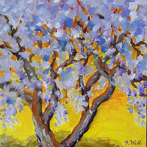 "DP301 ""Jacaranda Sunset"" Original Oil on Panel Painting by Jacqueline Hill"