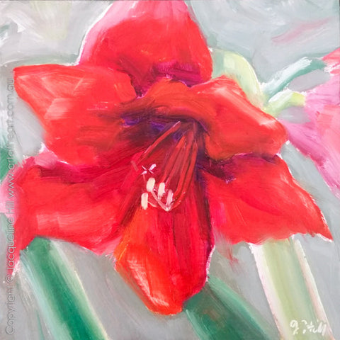 "DP306 ""Spring Hippie"" (November Lily) Original Oil on Panel Painting by Jacqueline Hill"