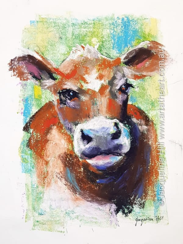 "DA289 ""Moo"" (cow) Original Mixed Media Painting by Jacqueline Hill"