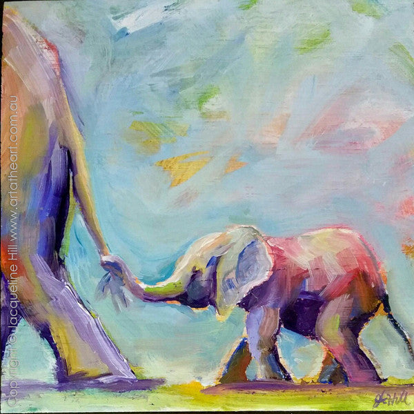 "DP320 ""Road Train Io"" (Baby Elephant) Original Oil on Panel Painting by Jacqueline Hill"