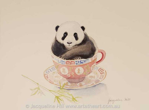 "DA168 ""Tea With Friends VII"" (Peng the Panda) Original Watercolour Paintingby Jacqueline Hill"