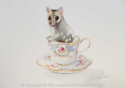 "DA179 ""Tea With Friends XVIII"" (Sam the Baby Quoll) Original Watercolour Painting by Jacqueline Hill"