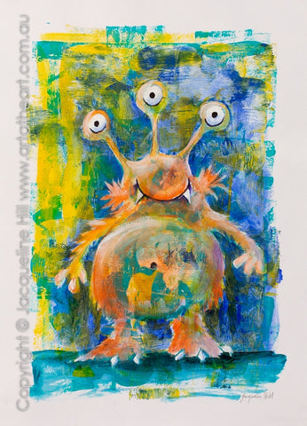 """Swampy the Alien"" Original Acrylic Painting 30x40cm by Jacqueline Hill [OR423]"