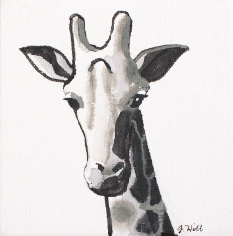 """Giraffe"" Original Acrylic Painting by Jacqueline Hill [OR352]"