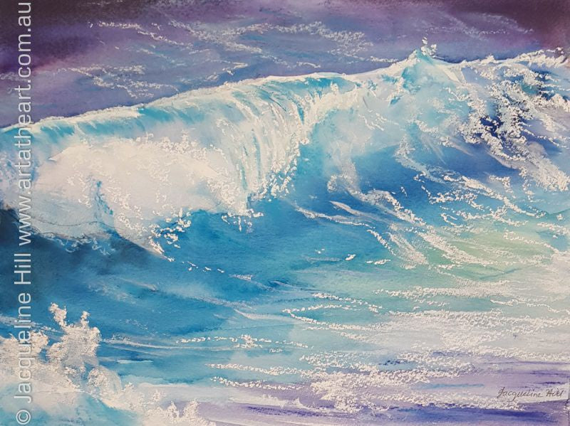 "DA115 ""Ocean Roll"" Original Watercolour & Pastel Painting apx 11x8"", 27x20cm by Jacqueline Hill"