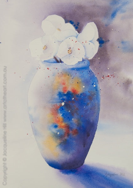 """Vase with Ice Poppies II"" Original Watercolour Painting by Jacqueline Hill [OR218]"