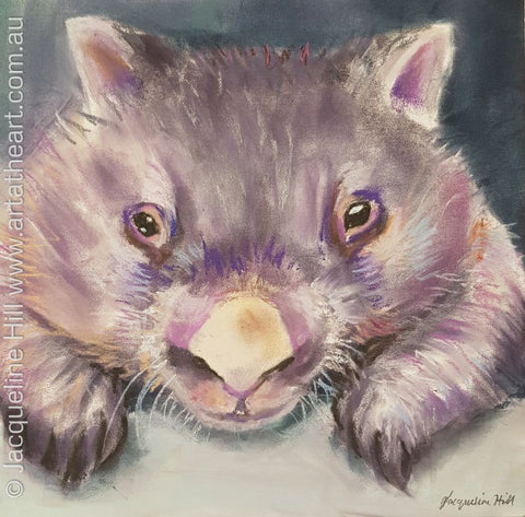 "DA108 ""Chucky, Where's My Grass"" Original Pastel Painting by Jacqueline Hill"