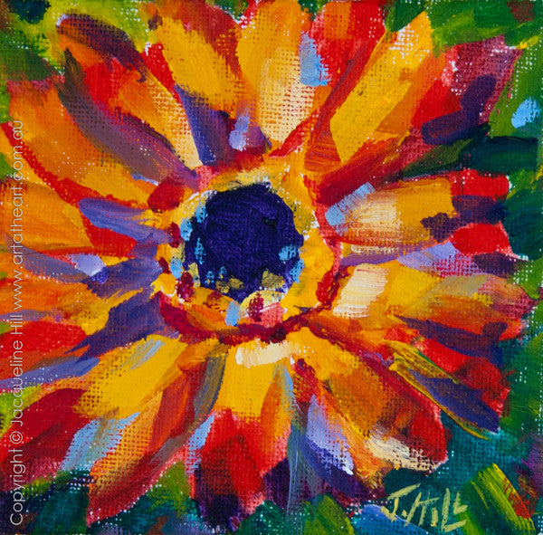 """Gerbera Ia"" Original Acrylic Painting by Jacqueline Hill [OR106]"