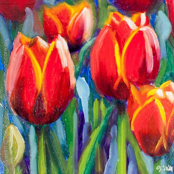 "DP249 ""Tulips"" Original Oil on Panel Painting by Jacqueline Hill"