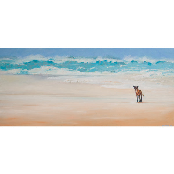 """Seventy Five Mile Beach"" (Dingo) Original Oil Painting by Jacqueline Hill [OR026]"