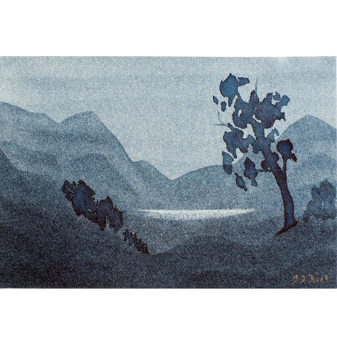 """Your Moment of Zen IV"" Zen Series Original miniature watercolour painting by Jacqueline Hill [ZEN004]"