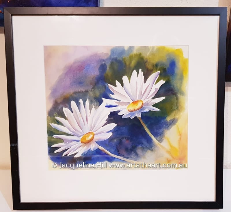 "DA292 ""Daisies"" Original Framed Watercolour Painting by Jacqueline Hill [OR]"