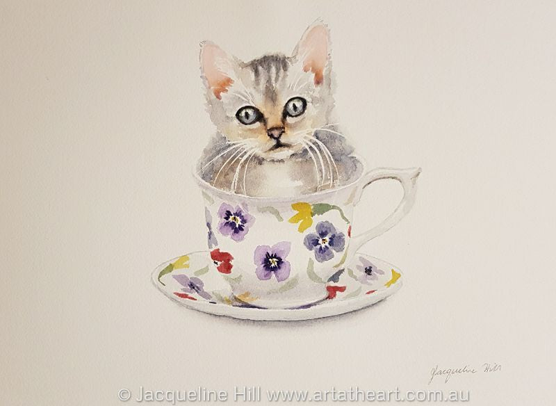 "DA164 ""Tea With Friends III"" (Misty the Kitten) Original Watercolour Painting 36x26cm by Jacqueline Hill"