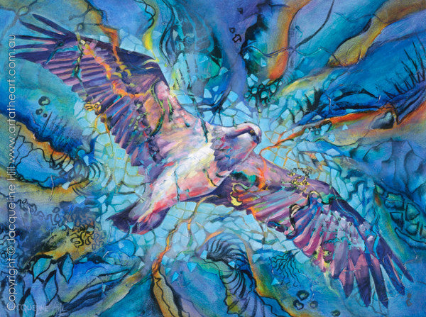 """Lift"" (Sea Eagle) Original Acrylic Painting by Jacqueline Hill [OR127]"