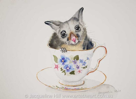 "DA182 ""Tea With Friends XXI"" (Missy the baby possum) Original Watercolour Painting by Jacqueline Hill"