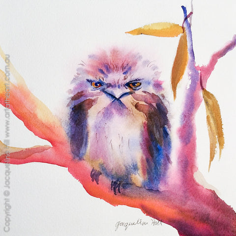 "01 ""And a Frogmouth in a Gum Tree"" Original Watercolour Painting by Jacqueline Hill [OR283]"