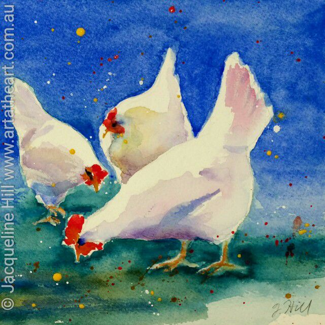 "DA057 ""Chook Chooks"" Original Watercolour Painting apx 6x6"" / 15cm sq by Jacqueline Hill"