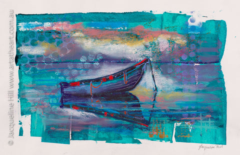"DA217 ""Peaceful Mooring"" Original Acrylic and pastel Mixed Media Painting apx 42x29cm by Jacqueline Hill"