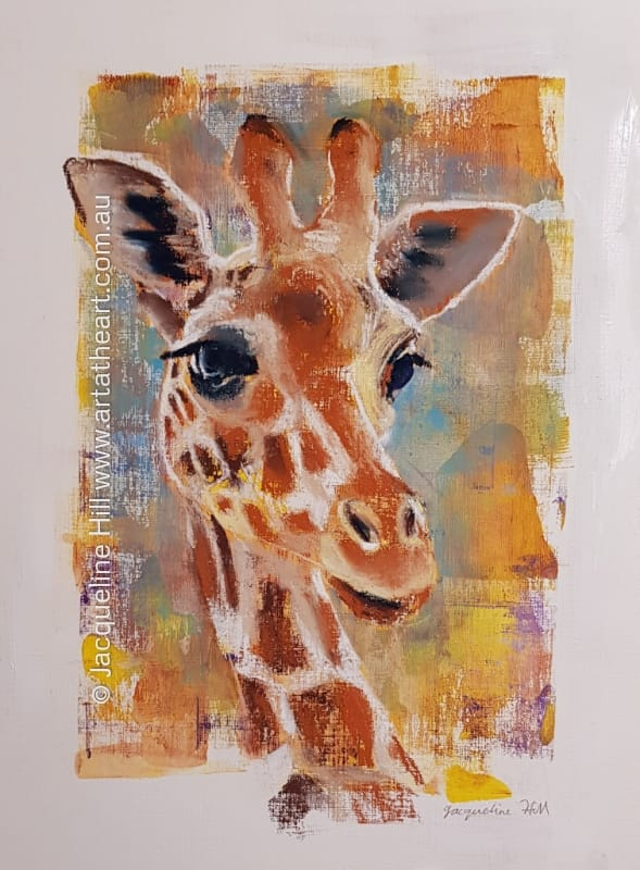 "DA239 ""Giraffe"" Original Mixed Media Painting by Jacqueline Hill"