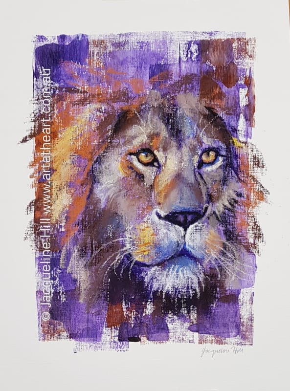 "DA240 ""Mighty King"" (lion) Original Mixed Media Painting apx 30x43cm plus frame by Jacqueline Hill"