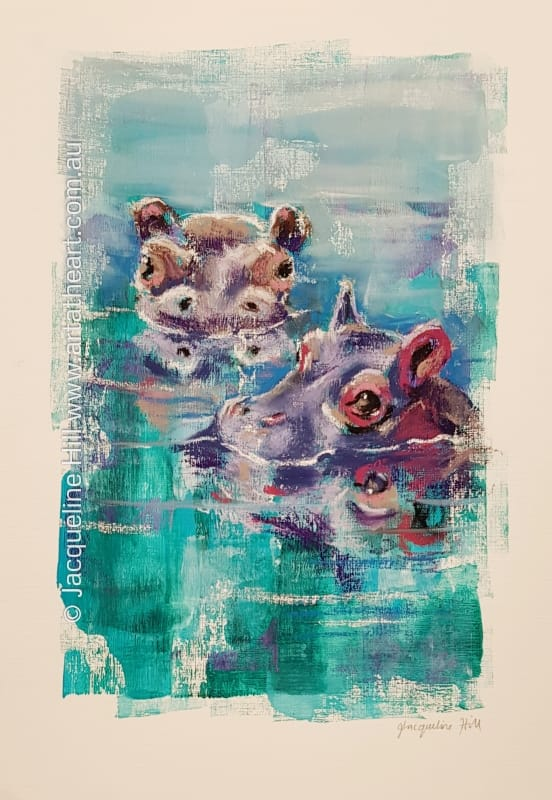 "DA241 ""Hippos"" Original Mixed Media Painting apx 30x43cm by Jacqueline Hill"